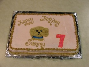 This cake for Sammy's 7th birthday features a cute puppy.